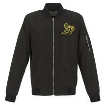 MLB Oakland Athletics Lightweight Nylon Bomber Jacket Black Embroidered ... - $99.99