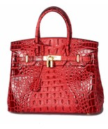 Crocodile Embossed Italian Leather Birkin Style Croc Satchel Handbag 1633S - $164.95