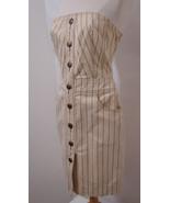 MARC JACOBS Dress Tan Striped Signature Button Pocket Strapless 6 - $134.99