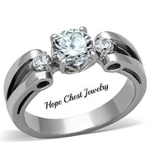 HCJ WOMEN'S STAINLESS STEEL 1 CARAT CUBIC ZIRCONIA ENGAGEMENT RING SZ 10 - $12.59