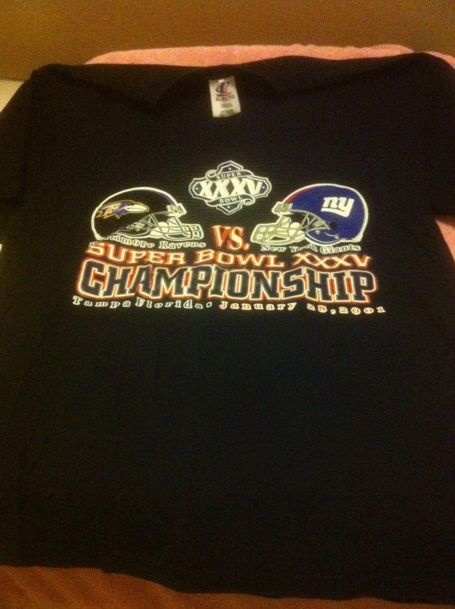 Primary image for SUPER BOWL XXXV- MENS TSHIRT SIZE XL- 2001 TAMPA RAVENS / GIANTS -FREE SHIP--VGC