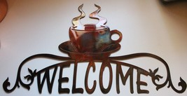 """Coffee Cup Ornamental Welcome Sign Metal Wall Art Decor 36"""" - $75.99"""