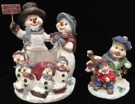 Snowmen Votive Candler Holder Home Interiors Snowman Figurine Resin   Lo... - $19.79