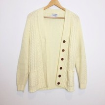 Vintage cable knit cardigan grandma grandpa Size XS Cream Buttons - $38.61