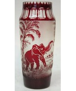RARE Moser Cameo Ruby Art Glass Elephant Vase Cut to Clear & Frosted Animor - $299.00