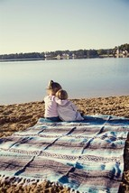 #11 Soft Blue Mexican Falsa Blanket El Paso Bed Throw Beach Picnic Yoga ... - $21.17 CAD