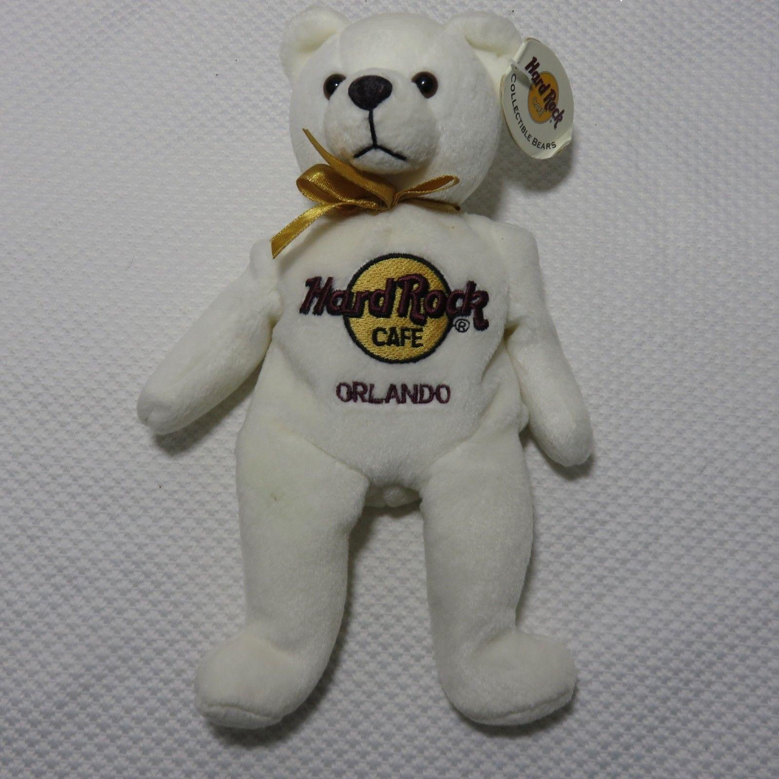 Hard Rock Cafe 2001 Orlando Collectible Beanie Baby Bear Peter Beara White