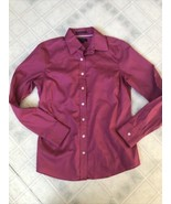 Lands' End Sz 2 Solid Pink No Iron PinPoint Oxford Button Down Long Slv ... - $18.51