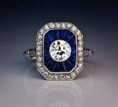 Art Deco White Round With Blue Baguette Diamond Engagement Vintage Style... - $123.75