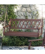 Classic X Back Dark Brown Finish Wood 4 Foot Porch Swing Outdoor Furniture  - $189.47