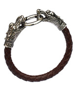 Coffee Men Bracelets Dragon PU Leather Silver Animal Chinese Zodiac - $10.00