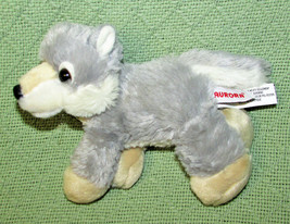 "AURORA WORLD MINI FLOPSIES 7"" WOLF HUSKY BEANBAG STUFFED ANIMAL PLUSH GR... - $5.00"
