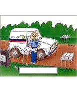 Mail Carrier Male Cartoon Character  Personalized Matted Print Finished ... - $16.95