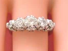 VINTAGE MID-CENTURY 1.12ctw DIAMOND PLATINUM 5-STONE ANNIVERSARY RING 1950  - $1,979.01