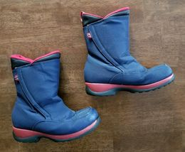 Lands End Youth Boys Girls Snow Boots Size 4 Navy Blue Waterproof Insulated - $14.99