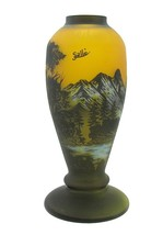 Cameo Art Glass Vase with Mountains and Trees 12 Inch - Signed Galle Tip - $138.01