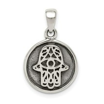 Sterling Silver Antiqued Hamsa Chamseh Round Medal Charm Pendant - $16.14