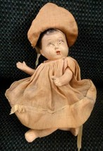 "antique ADORABLE COMPOSITION DOLL BABY orig clothes 7.5"" - $64.95"