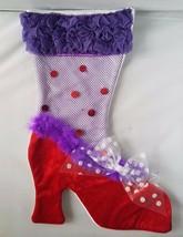 NWT Red Hat Society Purple Red Fishnet Heels Fashion Christmas Stocking ... - $7.68