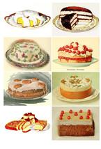 Printable Vintage Cakes Food Digital Collage Sheet  Clip Art  ATC  JPEG ... - $2.50