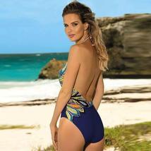 Women's Designer V- Neck Tummy Control Halter One Piece Swimsuit image 6