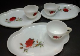 Federal Glass 3 Snack Sets Cup and Plate with Rosecrest Milk Glass Pattern - $32.99
