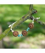 Cord bracelet with oak acorns. Blue and brown bracelet. Handmade jewellery. - $8.00