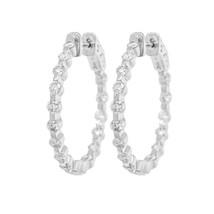 Rachel Koen Ladies Diamond Hoop Earrings 1.60cts in 14K White Gold - $1,699.00