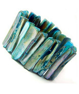 Mother of Pearl Rustic Beach Resort Pool Sea Shell Chunky MOP Stretch Br... - $7.77