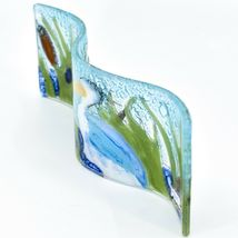 Fused Art Glass Blue Heron Bird in Cattails Wavy Sun Catcher Handmade Ecuador image 4