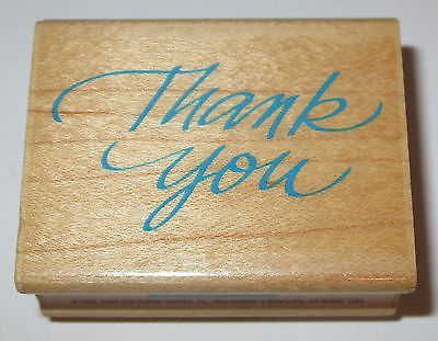 Primary image for Thank You Rubber Stamp Cursive Thanks Hero Arts Wood Mounted Sayings