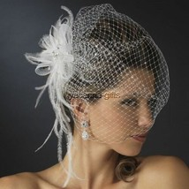 Jeweled Feather Fascinator with Birdcage Veil Bridal Hairpiece White - $51.48