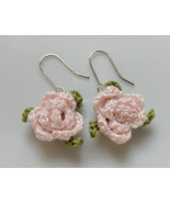 Crochet Flower Earrings / Crochet Earrings / Handmade Earrings / Rose Ea... - $12.00