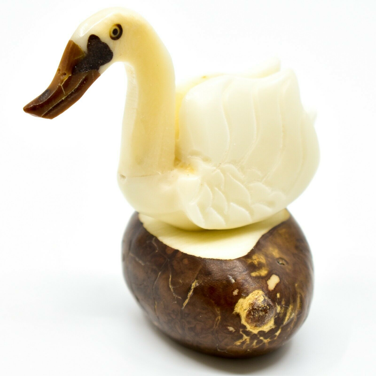 Hand Carved Tagua Nut Carving Swan Goose Bird Figurine Made in Ecuador