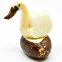 Hand Carved Tagua Nut Carving Swan Goose Bird Figurine Made in Ecuador image 1