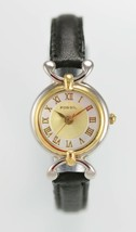 Fossil Women Watch Silver Gold Stainless Black Leather 30m Battery White... - $33.46