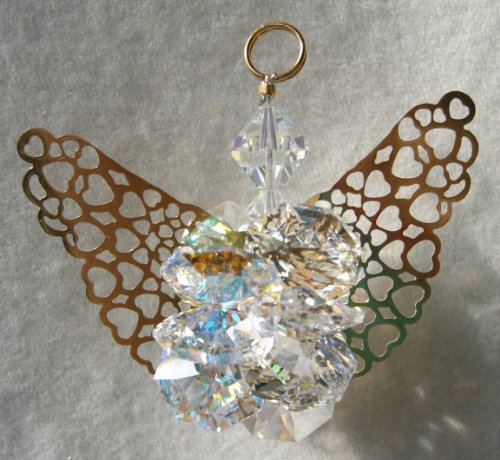 J'Leen Clear and Aurora Borealis Suncluster Crystal Angel Ornament