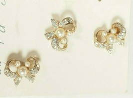 3 Rhinestones and Pearls Bow Scatter Pins with Tack Backs Vintage NEW - $9.49