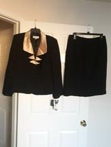 Le Suit New Womens Black & Gold Two-button Jacket Skirt Suit   14    $200 - $82.16