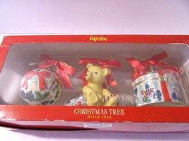 Spode Ornaments 2005 Set 3 Christmas Tree Teddy Bear Gift Present Bauble Ball - $28.66