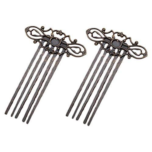5 Pcs Retro Bronze Metal Side Comb Traditional Han Chinese Dress Hairpin Decorat