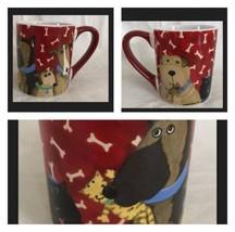 Gibson Home Red Top Dog Coffee Cup Mug Debi Hron 2006 Mint 12 oz Bones P... - $13.85