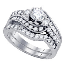 14k White Gold Round Diamond Bridal Wedding Engagement Ring Set 1-1/2 Ctw - £2,705.31 GBP