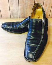 Cole Haan Black Slip On Loafers w/ White Stitching Size 9.5 M Made In Italy - $41.11