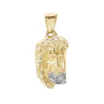 14K Yellow Gold Diamond Cut Christ Head Charm - $405.90