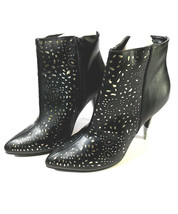 NEW Black Cut Out Gold Ankle Boots Cushion Walk Avon Pointed Toe SIZE 9 ... - £9.10 GBP