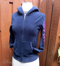 Juicy Couture Velour Hoodie Jacket Sz S Deep Blue Gold Love to Love Crown Logo - $16.89