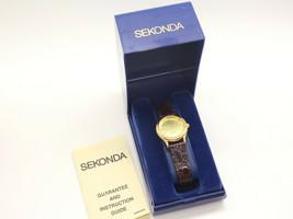 SEKONDA Ladies Quartz Watch Leather 04429 Goldtone Stainless Steel Back ... - $25.69