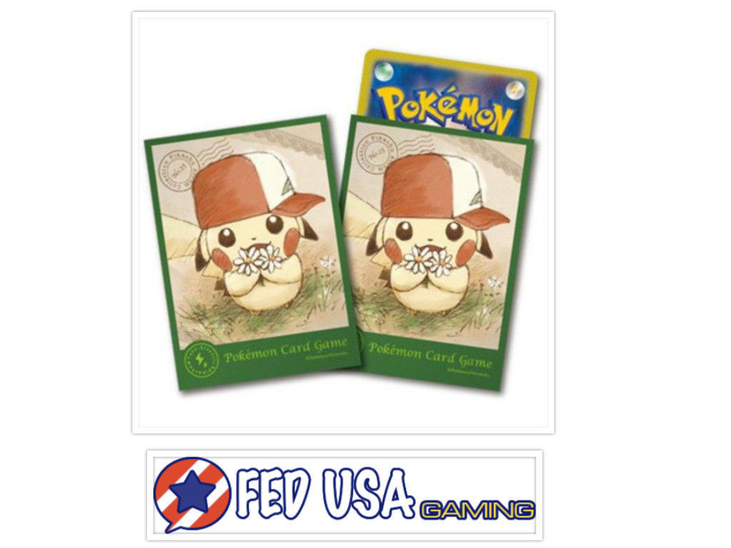 Pokemon Center Card Sleeves Japanese Pikachu Deck Shield Ash's Hat 64pcs