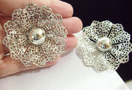 Sarah Co Ventry Filigree Silver Plate Big Bold Clip Earring Scalloped Vintage Cov - $13.85